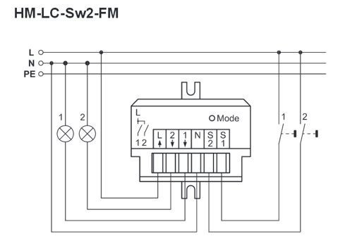 HomeMatic HM-LC-Sw2-FM wiring diagram
