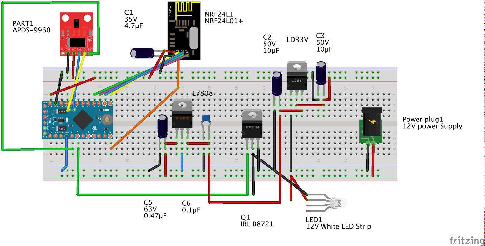 Gesture controlled MySensors, Floor lamp | OpenHardware io - Enables